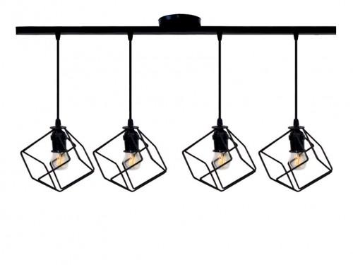 Lampara colgante de techo cubo cuádruple 4 luces hierro