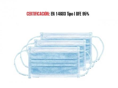 Mascarilla Facial Antibacterial Celeste- Pack por 50 unidades