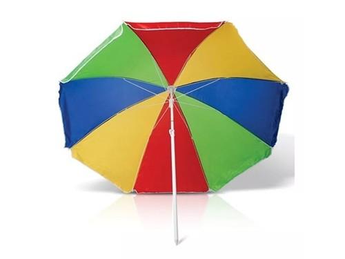 Sombrilla Plegable Redonda Para Playa Multicolor Con Bolso Incluido