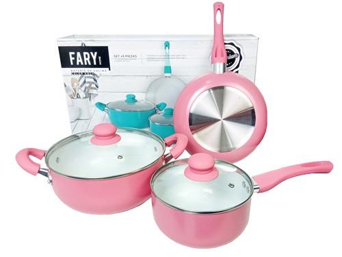 Bateria de Ollas Para Cocina Con Laminado De Ceramica Rosa Y Celeste