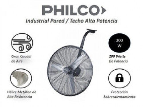 """VENTILADOR INDUSTRIAL VTIS7616E DE PARED / TECHO 30"""" PHILCO"""
