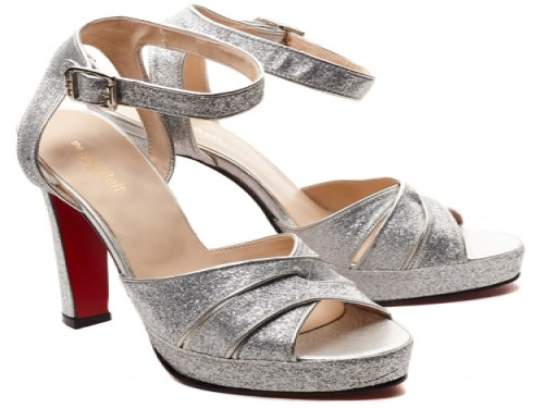 Sandalias taco alto glitter plata THE BAG BELT