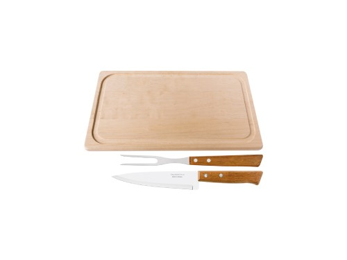 Juego de asado · Cuchilla, trinchante y tabla de madera Tramontina