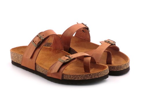 Chinela Cuero Mujer Sandalia Briganti Zapato Confort Moda Goma Verano