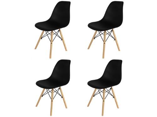 Sillas Eames x4 Negras Nordica De Comedor Living Moderna - Home Kong