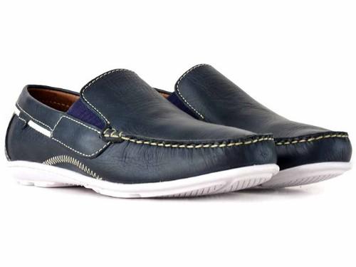 Náutico Mocasin Zapato Cuero Hombre Briganti Casual Vestir Goma Azul