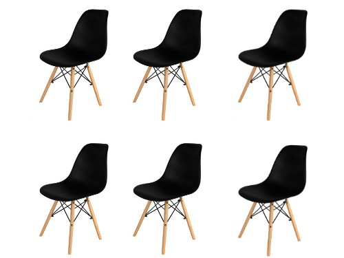 Sillas x6 Eames Negras Nordica De Comedor Living Moderna - Home Kong