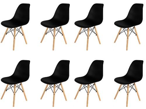 Sillas x8 Eames Negras Nordica De Comedor Living Moderna - Home Kong