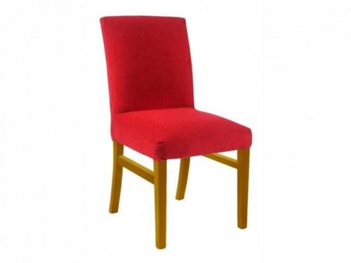 Silla tapizada en chenille color rojo