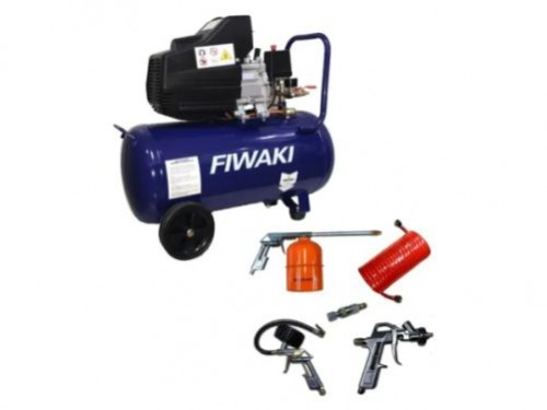 Compresor De Aire Transportable 2hp 50 litros Fiwaki + Kit 5 piezas