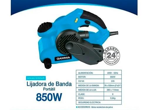 Lijadora Banda Electrica Gamma Manual 850w 76x533mm