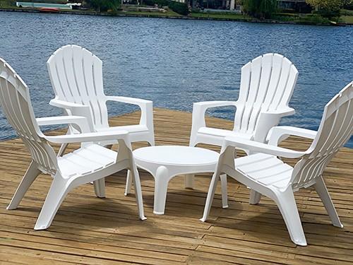 Set de 4 Sillones Miami color blanco + Mesa auxiliar de Regalo