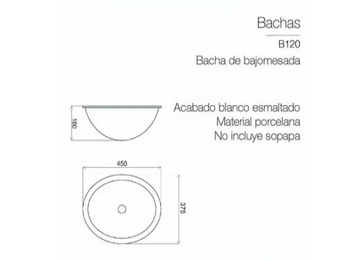 Lavatorio Bacha Piazza Baño Bajo Mesada Pileta Ovalada