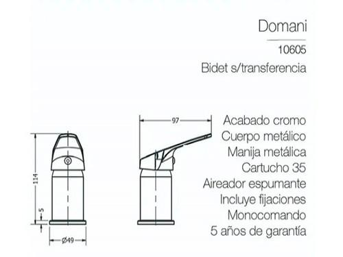 Grifería Bidet Baño Piazza Canilla Monocom S/transferencia 4/4