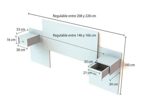 Respaldo Cama Cabecera Centro Estant Mesas De Luz Regulable