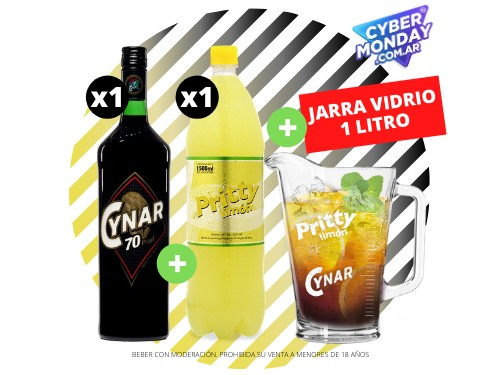 Cynar 70 + Pritty Limón 1.5 L + Jarra Vidrio 1 L