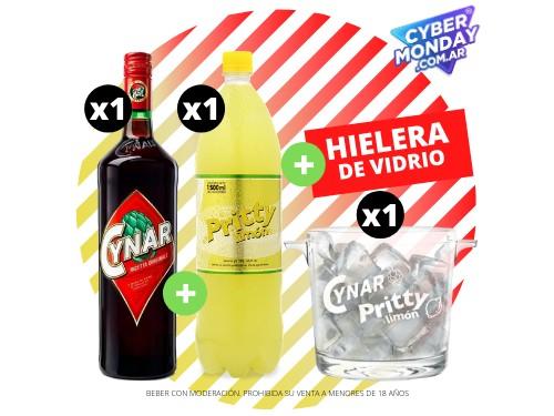 Cynar + Pritty Limón 1.5 L + Hielera de vidrio