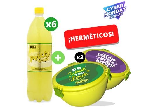 Pritty Limón 1.5 L x 6 un. + 2 Herméticos