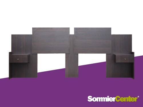 Respaldo extensible con mesas de luz integradas color wengue Squad