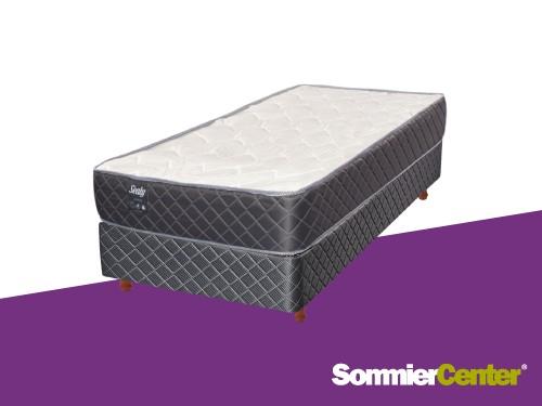 Sommier y colchón Resorte Bonnell 080x190x20 Tejido Jackard Sealy