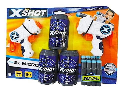 Pistola Doble Micro Lanza Dardos Hasta 24m X-shot