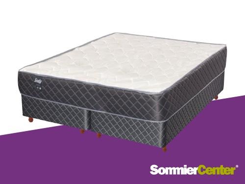 Sommier y colchón Resorte Bonnell 160x200x20 Tejido Jackard Sealy