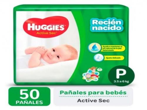 Pañales Huggies Active Sec - talle Pequeño 50 u