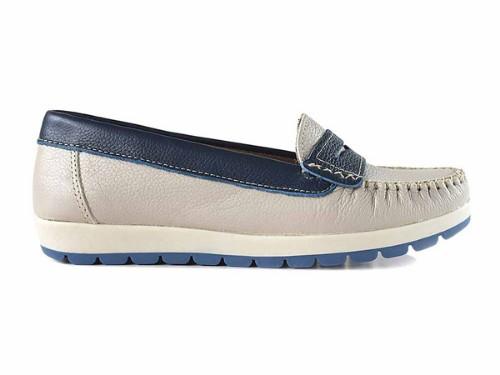 Mocasín Mujer Cuero Briganti Zapato Moda Casual Goma Natural Azul