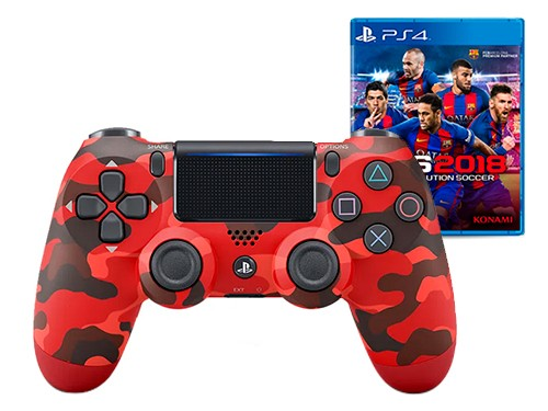 Combo Joystick PS4 DUALSHOCK W. CONTROLER RED CAMO + PES 2018 ORIGINAL