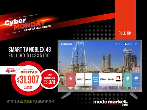 TV SMART LED 43 PULGADAS FULL HD NOBLEX DJ43X5100