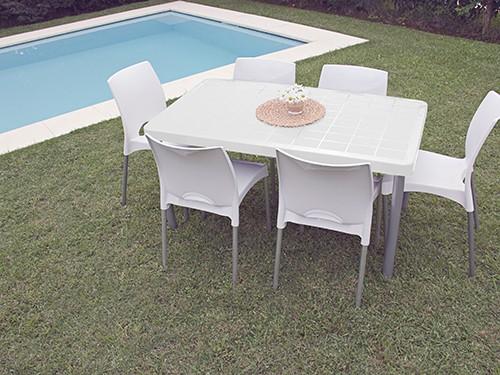 Set Mesa Tokio + 6 Sillas Boston Color blanco