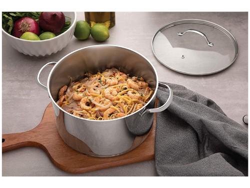 Bateria de Cocina Acero Induccion 4 Piezas Tramontina Triple Fondo