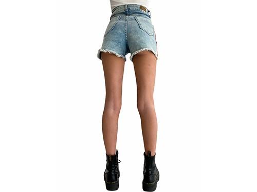 Short de jean con tira deportiva tiro alto Ballistic- Kout Mujer