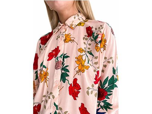 Camisa estampada manga larga Cherry Blossom- Kout Mujer