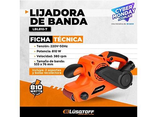 Lijadora De Banda 810w 533x76 Mm 380 Rpm Con Bolsa Lusqtoff