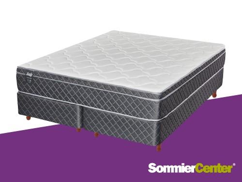 Sommier y colchón Resorte 200x200x26 Europillow Tejido Jackard Sealy