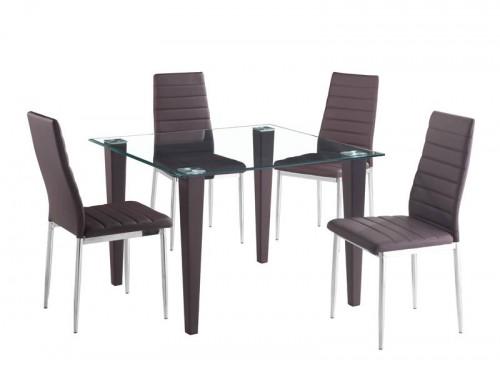 Juego de comedor 5 P, mesa de vidrio templado,4 sillas Ikal