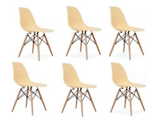 Silla Eames X6un. Madera Colores Asiento Modernas Clasico