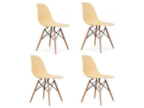 Silla Eames X4un Base Madera Asiento Clasico Color Moderna