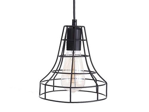 Lámpara Colgante Jaula Leuk Negra Alto: 19cm. x Ancho: 18 cm.