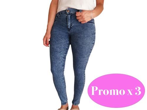 3 Jeans de Mujer Chupin Tiro Alto Elastizado