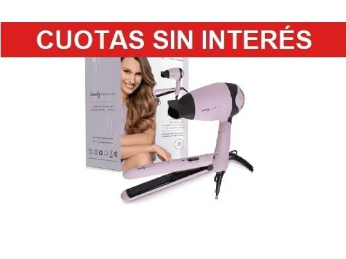 Combo Plancha+Secador de Cabellos Beauty Pampita Mini Beauty