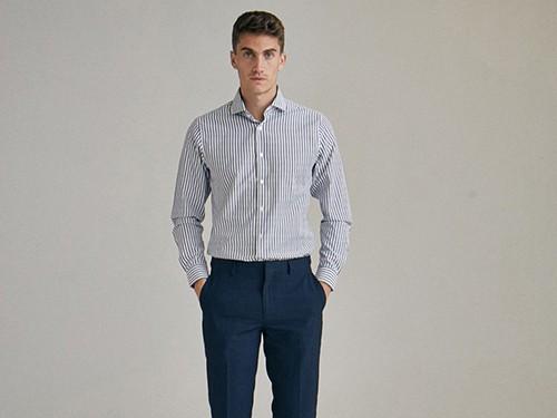 Camisa Spencer, Vestir, Hombre, a Rayas, de Algodón, Slim Fit, Equus