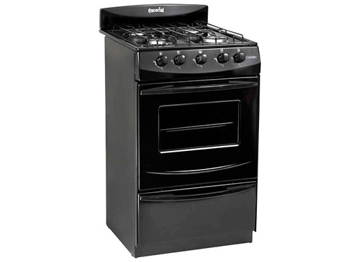 COCINA CANDOR NEGRA 50CM 4 HORNALLAS GAS NATURAL ESCORIAL