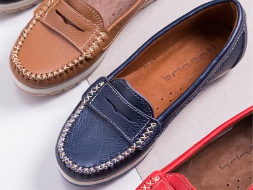 Mocasín Mujer Cuero Briganti Zapato Azul Moda Goma Vestir Verano