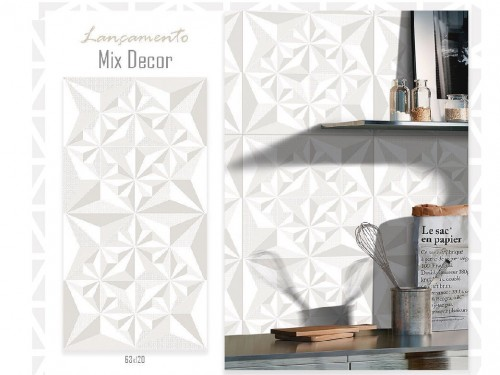 Porcelanico 63x120 Mix Decor Blanco Decorativo Lume (m²)
