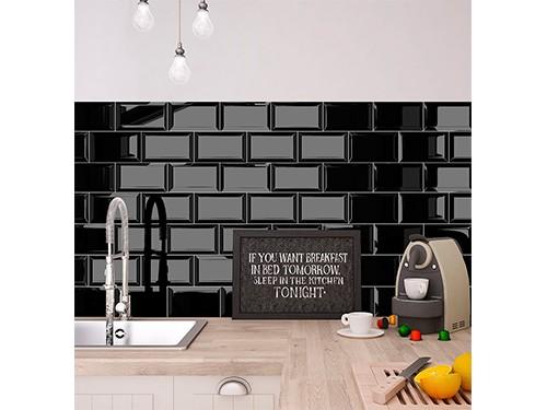 Revestimiento Biselado Negro Brillante 7,5x15 Cm.