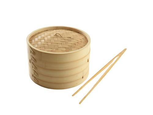 Vaporera De Bambu 2 Niveles Con Tapa  30 Cm + Pinza de Regalo