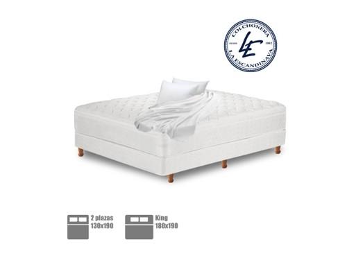 Colchón y Sommier + colcha + almohadas + cubre colchón