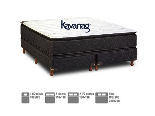 Colchón Sommier resortes pillow top premium 5 años de garan. Kavanag